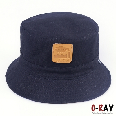 Cotton canvas Customized Bucket Hats Wholesale with leather patch