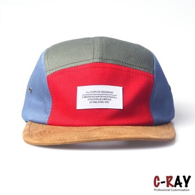 stylish 5 panel hat,soft 5 panel hat,snap back 5 panel hat with suede brim