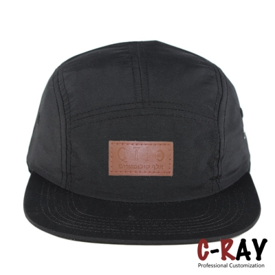 5 panel hat leather patch and custom 5 panel cap flat hats
